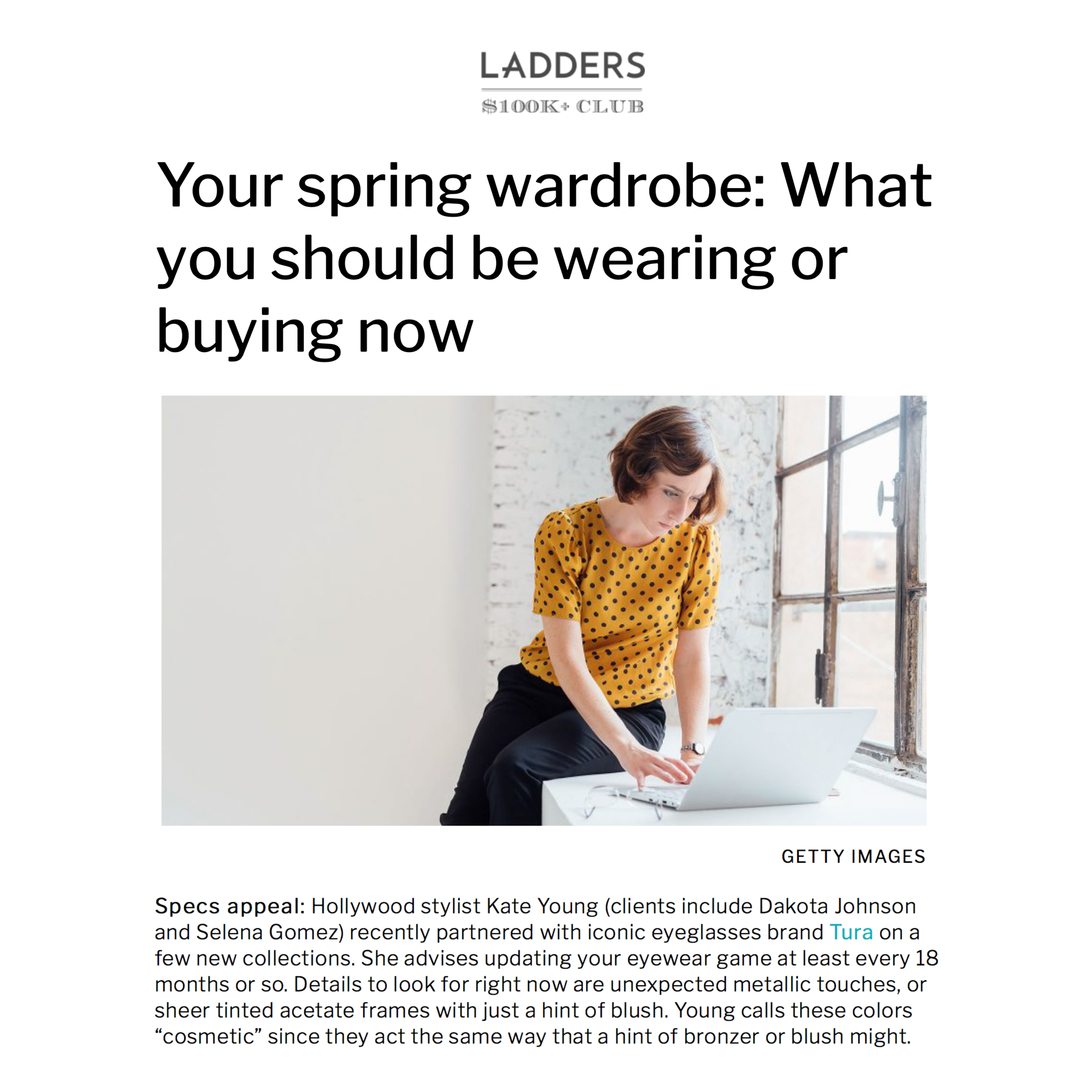 KATE YOUNG AND KATE YOUNG FOR TURA FEATURED IN LADDERS WITH TIPS FOR SPRING WARDROBE PLANNING